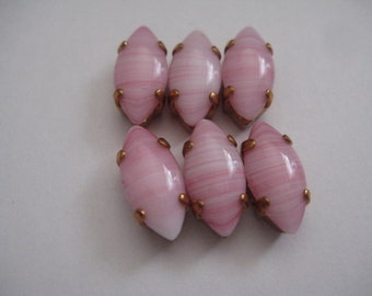 Lot of 6 15x7mm Pink Agate Navette Shaped W. German Rhinestones in Brass Copper Colored Sew on Settings