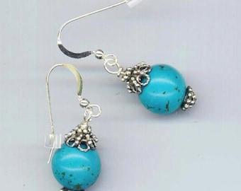 Turquoise Earrings. Sterling Silver. Vintage Filigree Petals. Post Earrings . Marbled Blue Turquoise - Southwestern by enchantedbeas on Etsy