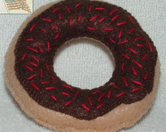 Felt Play Pretend Food Donut - 1 with Chocolate Icing - Play Kitchen Food