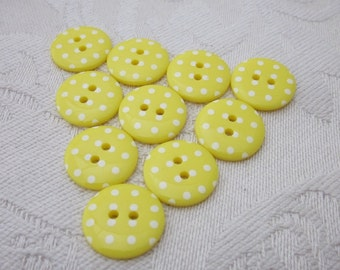 10 Small Yellow Polkadot Buttons