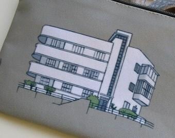 zipper pouch pencil case, clutch, Bauhaus, city, architecture, Tel-Aviv, illustration, building, khaki