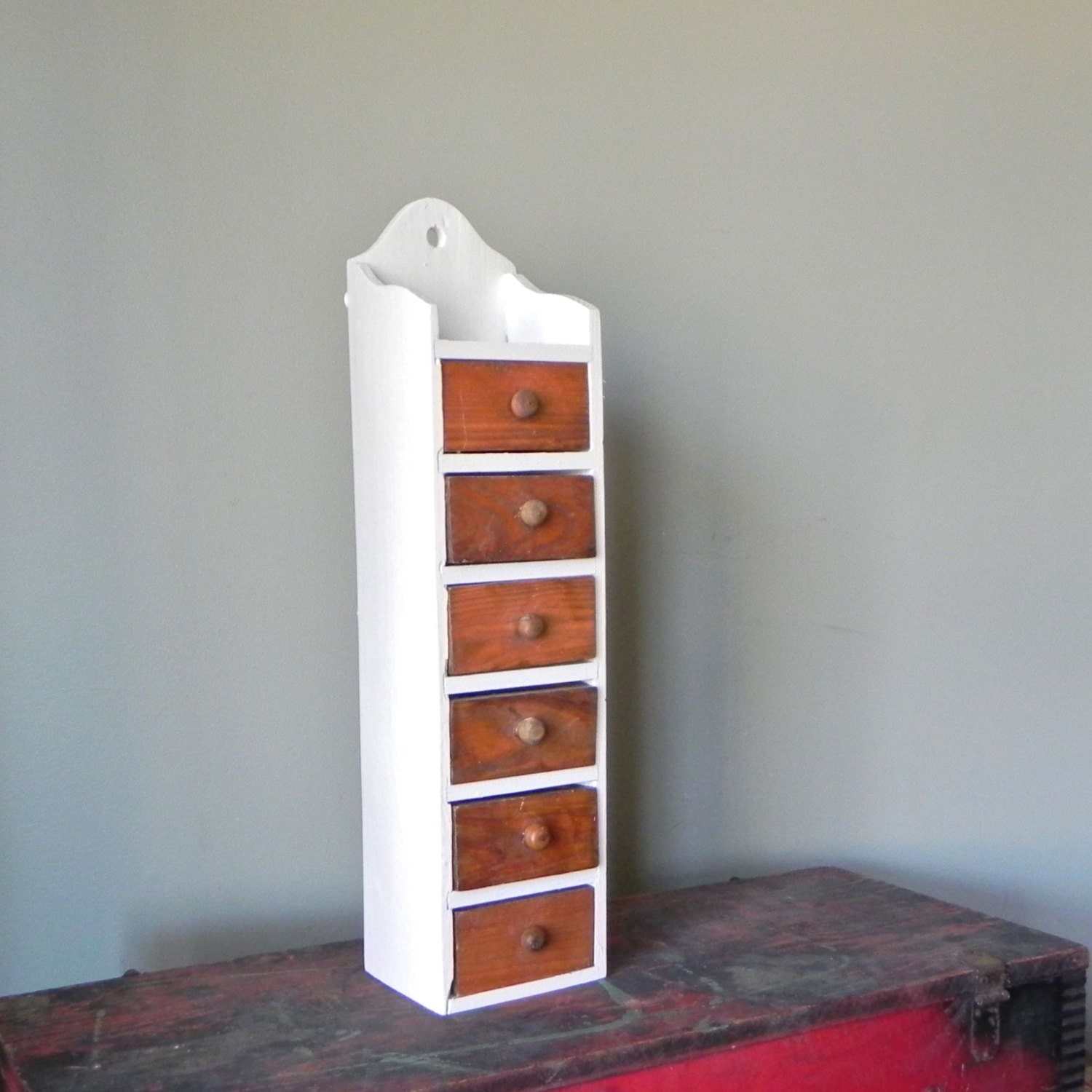 SALE Vintage tall cabinet with 6 drawers narrow by jollytimeone