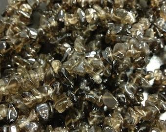 Smoky Quartz  semi-precious gemstone chips sizes vary 3x5mm to 5x8mm smokey quartz