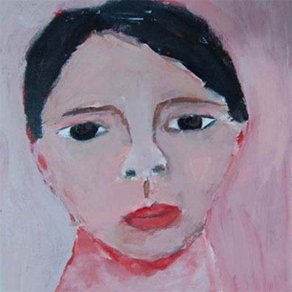 Acrylic Portrait Painting School Boy Face, Black Hair, Pink Background 6x6 canvas board