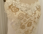 Ruby Tuesday -Cream and Champagne Lace Slip top with pearls Womens Slip top RESERVE FOR SUSAN