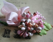 Champagne Pink Stamen Collection- Soft Pastel Spring Blossom Pink Mixed Floral Stamens - Vintage Millinery Supplies - Ribbon Wrapped Posy