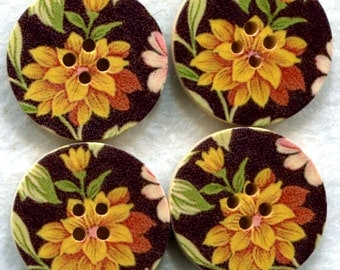 Flower Buttons Decorated Wooden Buttons 30mm (1 1/4 inch) Set of 4 /BT78