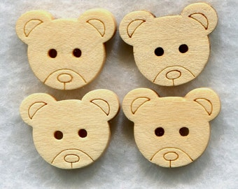 Bear Buttons Decorated Animal Wooden Buttons 15mm (5/8 inch) Set of 4 /BT50A