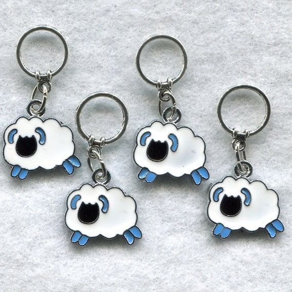 Sheep Stitch Markers BIG Rings Ram Lamb Ewe Enameled Set of