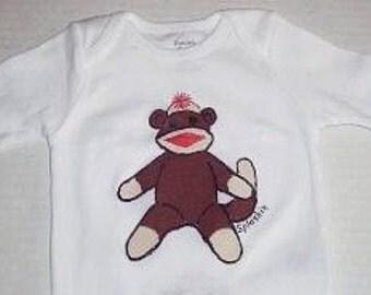 Sock Monkey Baby Bodysuit, Monkey Shirt, Sock Monkey Baby One Piece, Retro Sock Monkey Infant Bodysuit,