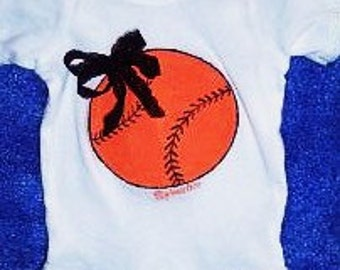 Baby Girl Baseball Bodysuit, Choose Your Team Colors, Custom Baby Baseball One Piece, Baby Baseball Clothing, Can be personalized on back