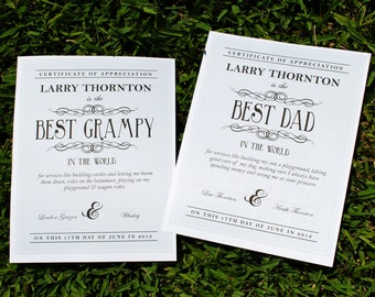 DIGITAL Father's Day Gift, Certificate of Appreciation, Best Dad or Grandfather or Anyone