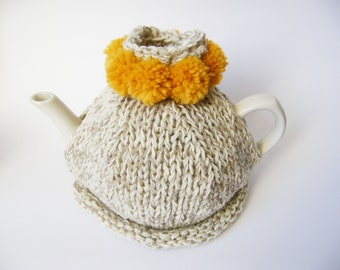 Hand Knitted Tea Cosy, light grey with mustard pom poms, hostess gift, handmade tea cozy, gift for her, mother's day gift, the tea cozy