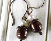 Chocolate and  Cream White Freshwater Pearl Earrings