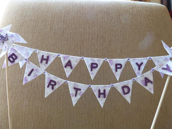 Cake Topper HAPPY BIRTHDAY - Shabby Ashwell Chic Lialc Purple Pinwheeel Flags Banner
