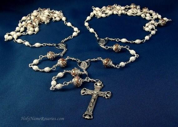 Lazo Wedding Rosary Lasso Laso White Pewter Unbreakable