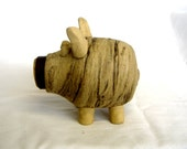JEEVES - Oink oink little piggy (bank) wheel thrown two color stoneware clay piggie bank