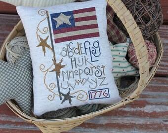 Primitive Patriotic Americana Flag Sampler Pillow Cross Stitch - Made to Order