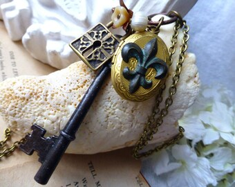 Legacy Fleur De Lis Locket Necklace - Steampunk Long Sweater Key Necklace