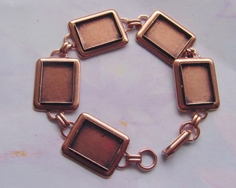 Bracelet Blank Antiqued Copper Plate Rectangle 7.5 Inch (16 x 12mm) (ND227)