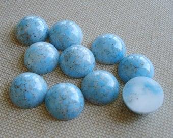6 Vintage 13mm Turquoise Matrix Mottled Flat Back Round Glass Cab Stones