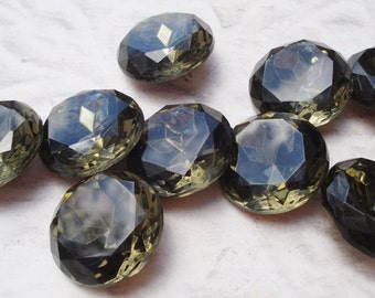 Vintage 20mm Czech Black Diamond Gold Foiled Pointed Back TTC Faceted Round Glass Jewel (1 piece)