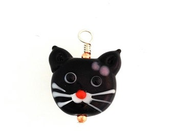 Cat Bead Pendant on Sterling Silver