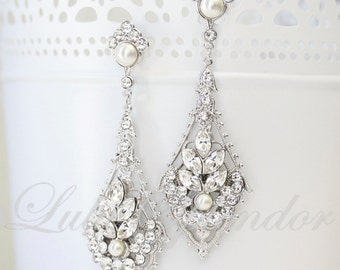 Chandelier Wedding Earrings Vintage Art Deco Bridal Earrings Pearl Crystal Bridal Wedding Jewelry URSULA