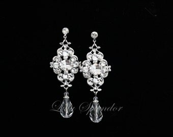 Crystal Bridal Earrings Vintage style Wedding Earrings Swarovski Rhinestone Wedding Jewelry LEILA