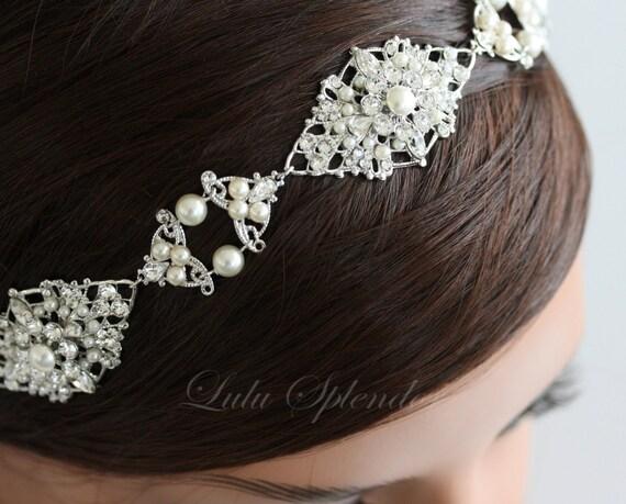 Pearl Bridal Headband Headpiece Wedding hair Accessories Ribbon Headband Pearl Rhinestone Vintage Head Piece Hair Jewelry MARCELLA DIVINE
