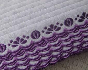 Czech Republic Woven Purple Embroidered Floral Cotton Trim 20mm 2 Yards  Folk Costume Trim