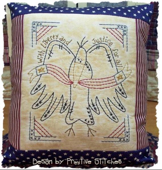 Crow Liberty-Primitive Stitchery  E-PATTERN by Primitive Stitches-Instant Download