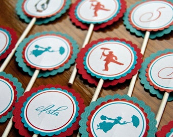 Mary Poppins Cupcake Toppers Carnival Birthday Party Cupcake Toppers set of 12 by Belleza e Luce