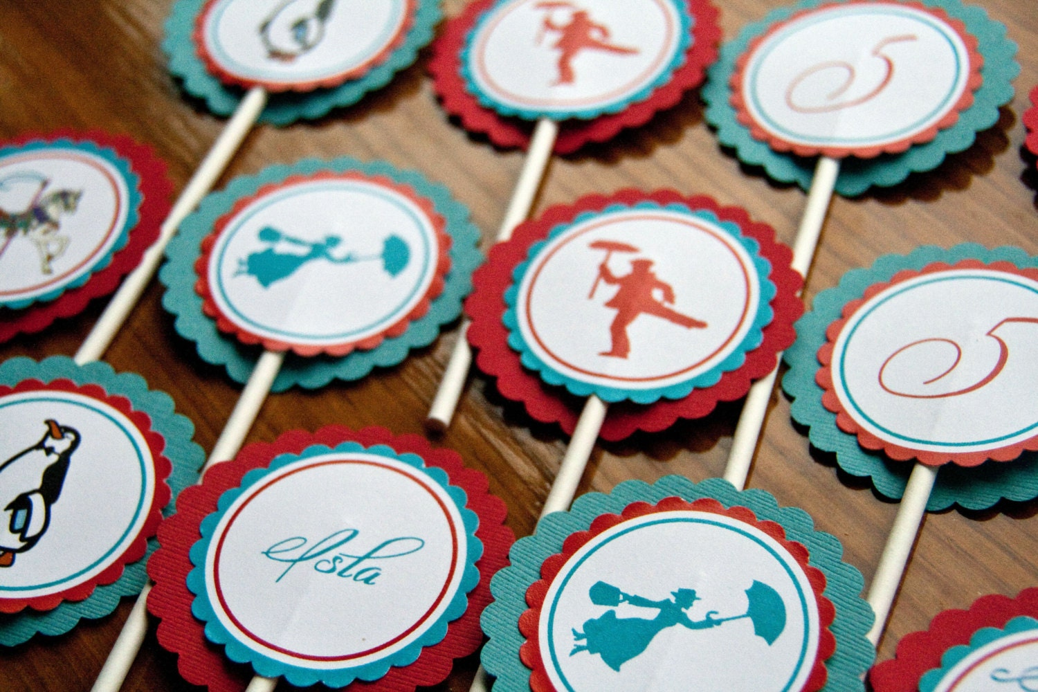 Mary Poppins Cupcake Toppers Carnival by DanielleSealsEvents