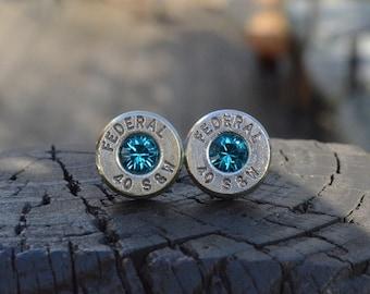 Bullet Earrings stud or post, nickel silver Federal .40 S&W with Swarovski crystals