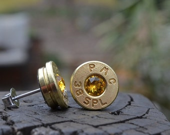 Bullet Earrings stud or post, brass/gold PMC .38 special with Swarovski crystals