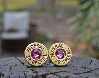 Bullet Earrings stud earrings or post earrings Federal .38 special earrings bullet jewelry gold earrings with Swarovski crystals