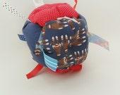 Fabric Block with rattle - Sensory Jumble Ball Baby Toy - Sock Monkey