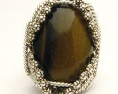 Handmade Sterling Silver Berry Wire Wrap Tiger Eye Cabochon Ring