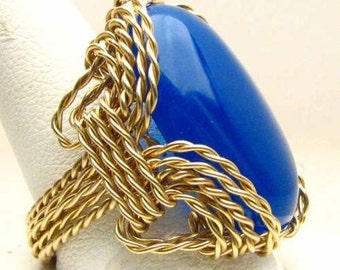 Handmade 14kt Gold Filled Wire Wrapped Blue Onyx Ring Solitaire Ring
