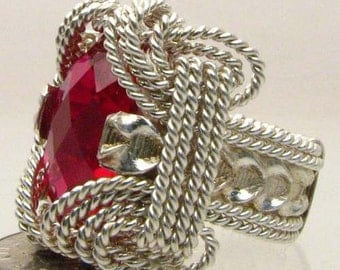 Handmade Sterling Silver Wire Wrap Man Made Ruby Ring