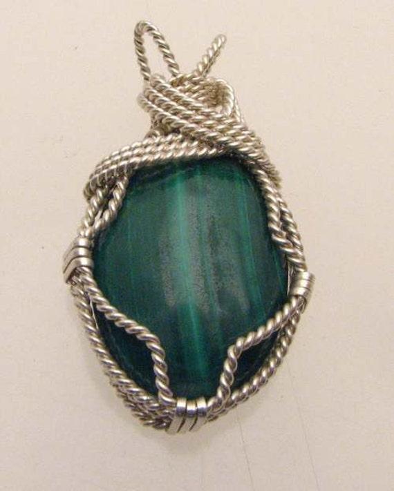 Handmade Solid Sterling Silver Wire Wrap Malachite Cabochon Pendant