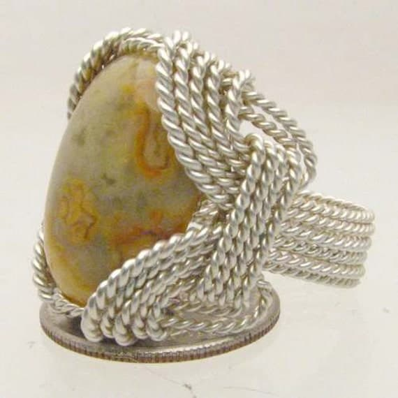 Handmade Solid Sterling Silver Wire Wrap Crazy Lace Agate Cabochon Ring