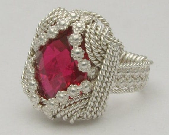 Handmade Sterling Silver Berry Wire Wrap Man Made Ruby Gemstone Ring