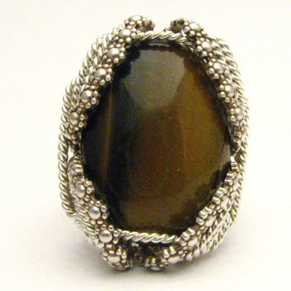 Tiger Eye Wire Wrapped Ring Handmade Sterling Silver Ring Sterling Silver Berry Wire Wrapped Tiger Eye Cabochon Ring
