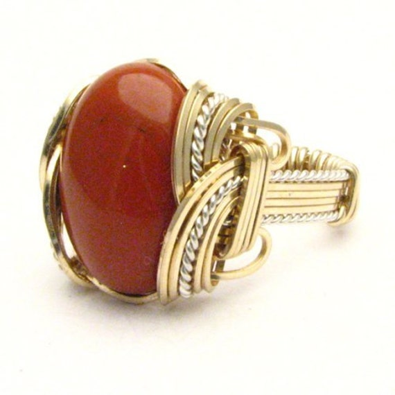 Handmade Wire Wrap Two Tone Sterling Silver/14kt Gold Filled Red Jasper Ring