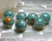 1pc 20mm Gemstone Bead, Turquoise Blue Inlay bead, GLOBE bead, Large bead supply