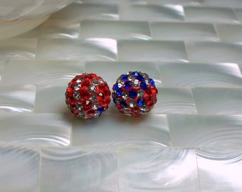 CLEARANCE 2pcs Polymer Clay and Rhinestone 12mm Pave Beads American Flag red white blue Round Jewelry Jewellery Craft Supplies