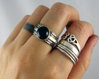Sterling Stacking Rings - Set of 4 hammered and 1 wide hammered with Black Onyx - MADE TO ORDER