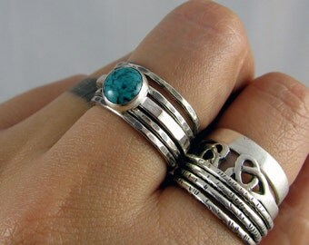 Sterling Stacking Rings - Set of 4 hammered and 1 wide hammered with round Turquoise - MADE TO ORDER